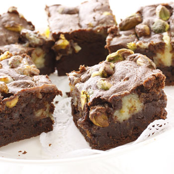 Lemon Pistachio Cheesecake Marbled Brownies