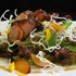 Chinese BBQ pork salad with shattered glass noodles