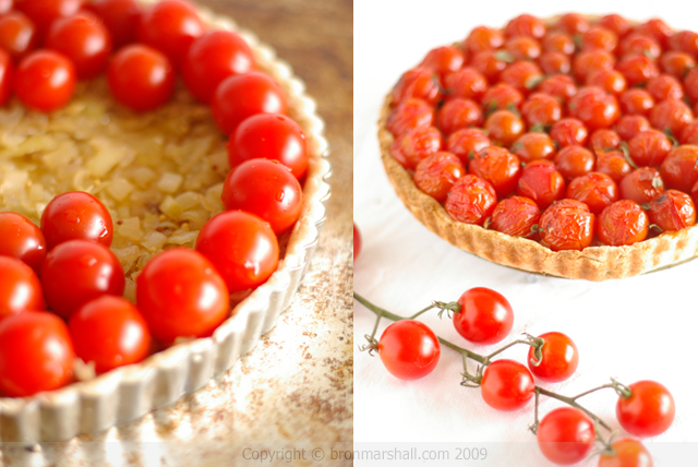 Cherry Tomato Onion Tart with Parmesan Crust