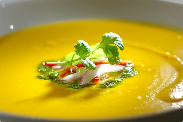 Thai Inspired Pumpkin Soup with Lime and Coriander Pesto