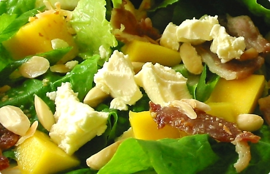 Closeup of Mango, Feta and Streaky Bacon Salad