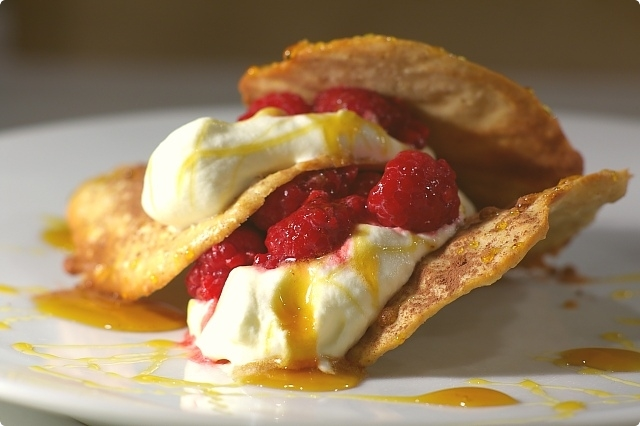 ANZAC Tuiles with Crème Chantilly and Raspberries