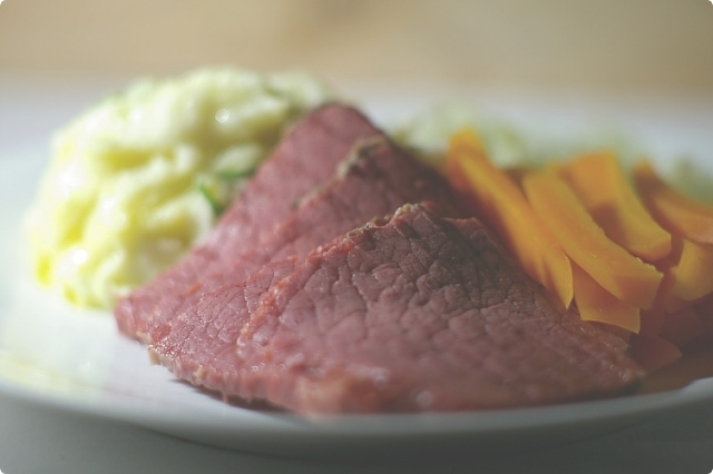 Corned Beef with Champ, Braised Carrots and Cabbage
