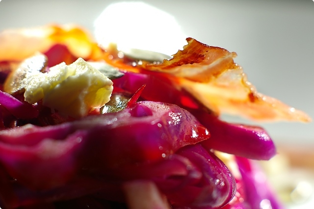 Warm Red Cabbage, Pancetta and Feta Salad