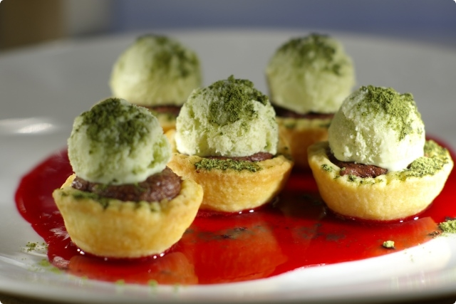 Baked Chocolate Mousse Cups with Mini Matcha Ice-cream Spheres