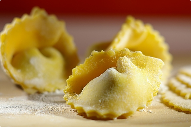 Spinach and Cheese filled Pumpkin Tortelloni