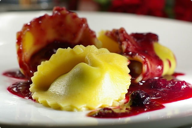 Spinach and Cheese filled Pumpkin Tortelloni with a Blueberry, Orange and Pinot Noir Sauce