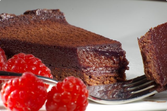 Chocolate Custard Tart with Homegrown Raspberries