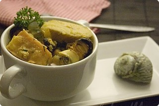 Sea Snails with Green Bananas and Tofu
