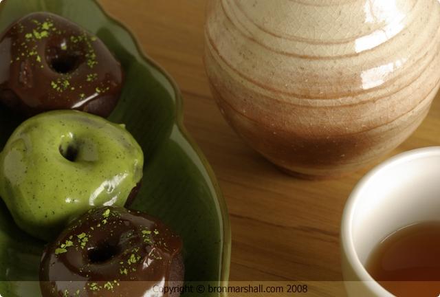 Mini Chocolate Matcha Doughnuts