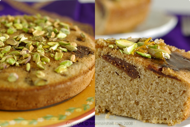 Spiced Fig Polenta Cake with Pistachio and Orange Blossom Syrup