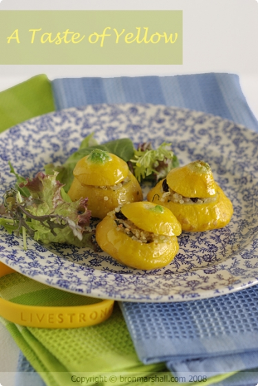 A Taste of Yellow Patty Pan Squash stuffed with Lemon and Currant Quinoa