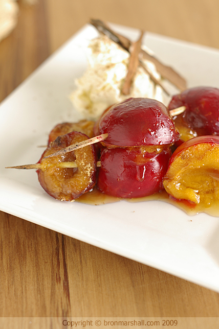 Sugar Grilled Plums with Cinnamon Mascarpone