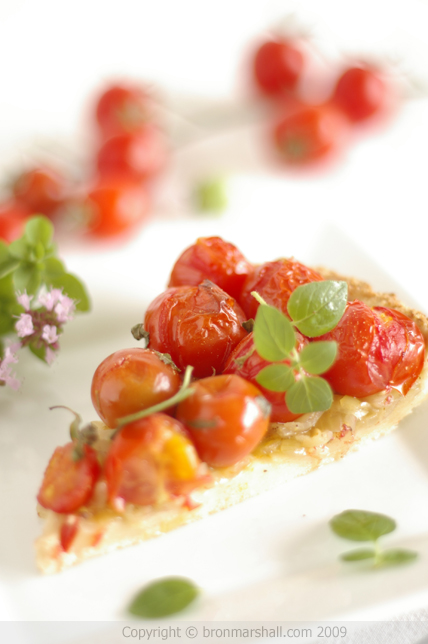 Cherry Tomato Onion Tart with Parmesan Crust