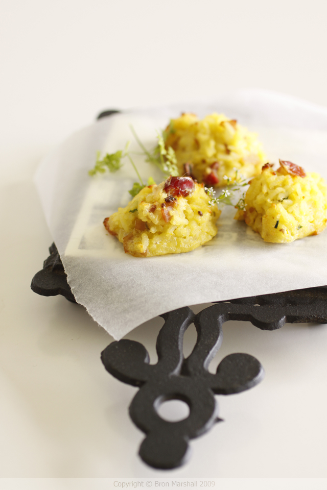 Little Ham Cranberry and Saffron Rice Stuffing Cakes